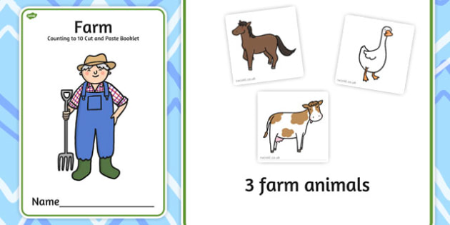 Farm Counting to 10 Cut and Paste Booklet - cutting, count, farms