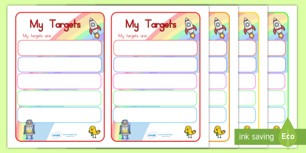 Editable Target Learning Objectives Book Labels