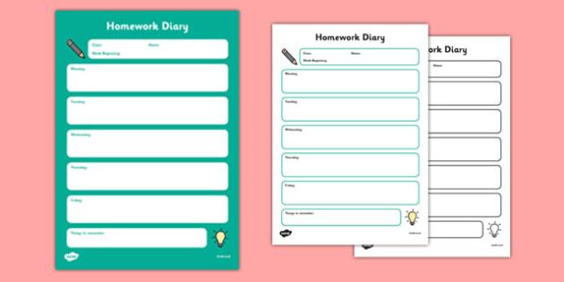 Homework Diary Template - CfE, homework, template, diary