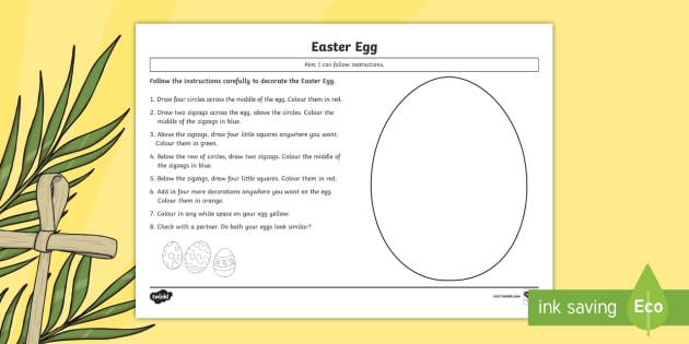 Easter Egg Following Instructions Worksheet Activity Sheet