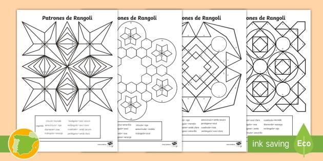 NEW * Ficha de actividad: Colorear los patrones de Rangoli con figuras