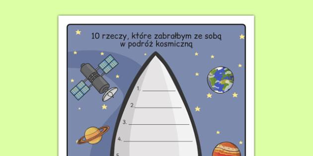Arkusz Co chciałbym zabrać ze sobą w kosmos po polsku - pisanie