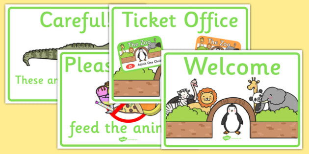 Zoo Role Play Signs - Zoo Role Play, zoo, at the zoo, signs, zoo resources, zoo animals, animals, zoo ticket, the zoo, living things, role play, display, poster