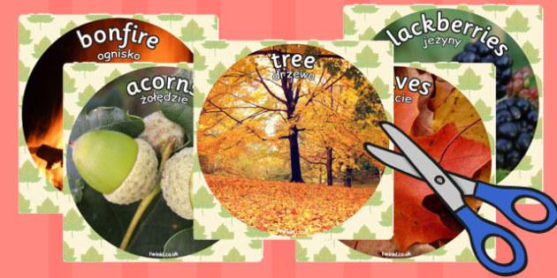 Autumn Display Photo Cut Outs Polish Translation - polish, autumn, display