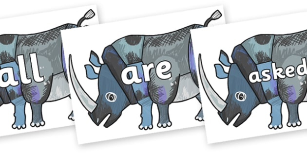 Tricky Words on Rhinoceros to Support Teaching on The Bad Tempered Ladybird - Tricky words, DfES Letters and Sounds, Letters and sounds, display, words