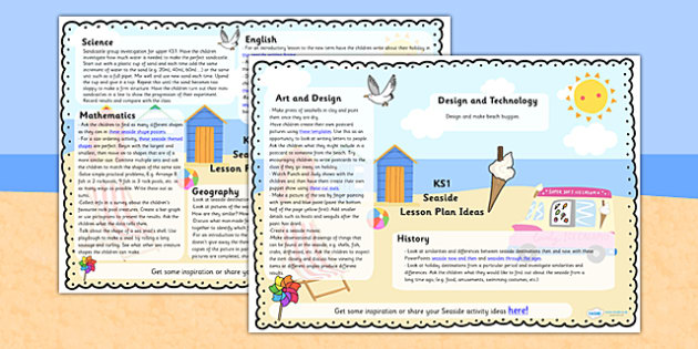 Seaside Lesson Plan Ideas KS1 - seaside, lesson, planner, KS1, lesson plans, KS1 lesson plans, seaside lessons, ideas for lessons, KS1 seaside lesson