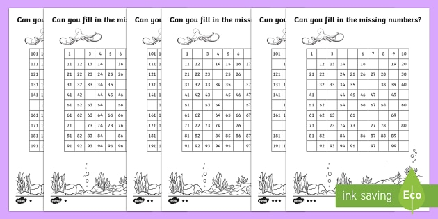 Under the Sea Missing Numbers Number Square - counting aid, maths