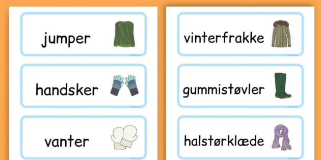 Winter Clothes Word Cards - winter clothes, word cards, winter, clothes - Danish