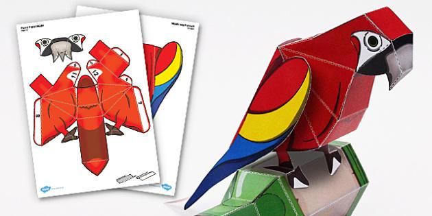 Parrot Paper Model - parrot, paper model, paper, model, craft
