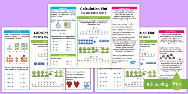 Year 1 Addition, Subtraction, Multiplication and Division Differeniated Maths Mats - KS1 Maths, add, addition, subtract, subtraction, multiply, lots of, learning tools, divide, sharing,