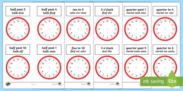 analogue clocks worksheet worksheets english german o 39 clock quarter to. Black Bedroom Furniture Sets. Home Design Ideas