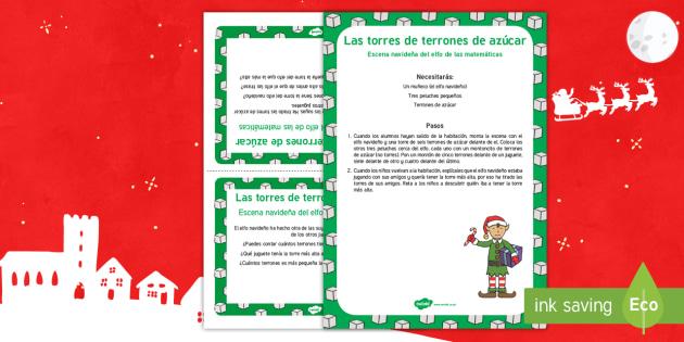 Escena matemática con el elfo navideño: Las torres de terrones de azúcar - numeros, problemas matemáticos, navidad, navideño, Spanish