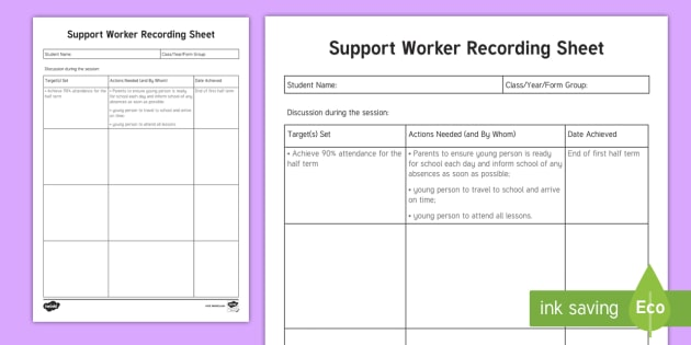 Support worker recording sheet planning template young for Case for support template
