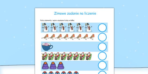 Zimowe zadanie na liczenie po polsku - matematyka, liczby, cyfry