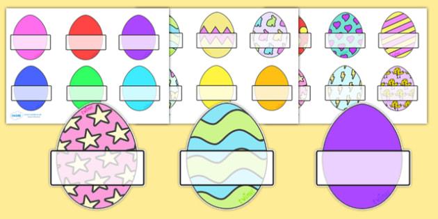 Editable Self Registration Labels (Easter Eggs) - Self registration, register, Easter, editable, labels, registration, child name label, printable labels, bible, egg, Jesus, cross, Easter Sunday, bunny, chocolate, hot cross buns