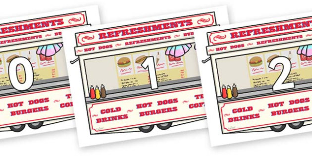 Numbers 0-31 on Fairground Food Vans - 0-31, foundation stage numeracy, Number recognition, Number flashcards, counting, number frieze, Display numbers, number posters