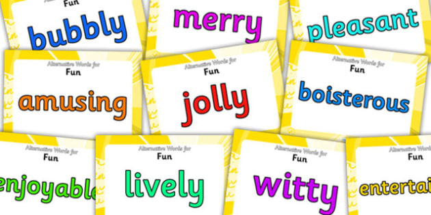Alternative Words For Fun Display Posters - alternative words for fun, better words for fun, powerful words, synonyms, synonym posters, synonyms for fun
