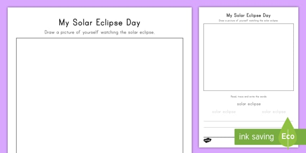My Solar Eclipse Day Activity Sheet - Preschool, Writing Activity, Follow Up, handwriting, Worksheet
