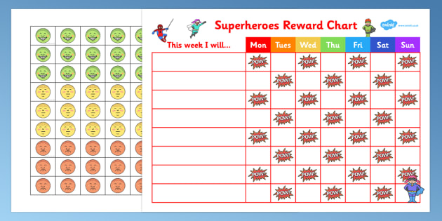 Superhero Sticker Stamp Reward Chart  Superhero Sticker Stamp