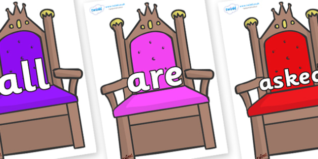 Tricky Words on Thrones - Tricky words, DfES Letters and Sounds, Letters and sounds, display, words
