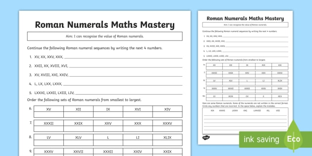 Year 4 Roman Numerals Maths Mastery Worksheet / Worksheet - Counting ...