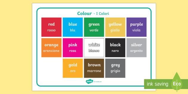 Words In Italian Translated To English: Colour Word Mat English/Italian