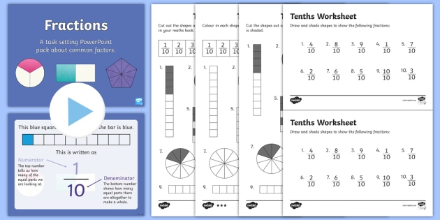 year  fractions tenths task setter powerpoint activity pack  year  year  fractions tenths task setter powerpoint activity pack  year  year  three