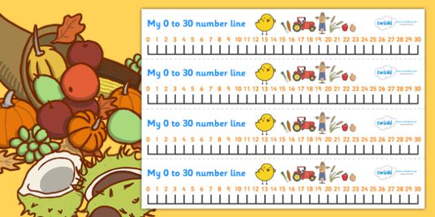 Harvest Number Line (0-30) - Counting, Numberline, Number line, Counting on, Counting back, harvest, harvest festival, fruit, apple, pear, orange, wheat, bread, grain, leaves, conker