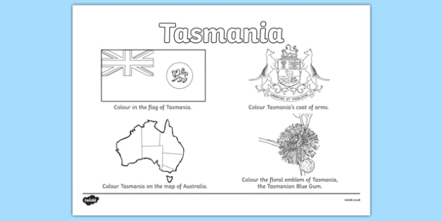 Tasmania Colouring Sheet - australia, colouring, flag, coat of arms, floral emblem, map, Australia, Art, Geography, states, territories