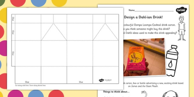 Design a Roald Dahl Drinks Carton Activity - art, design, stories