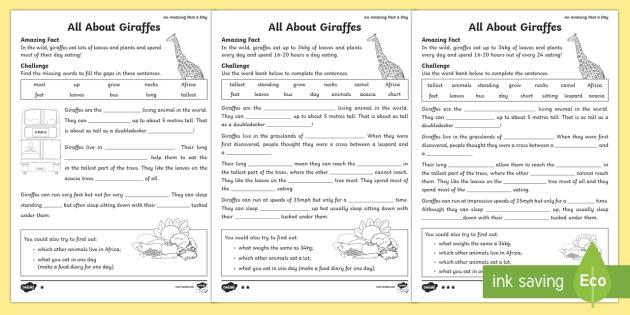 Cloze Procedure About Giraffes Worksheet / Activity Sheet - Amazing ...