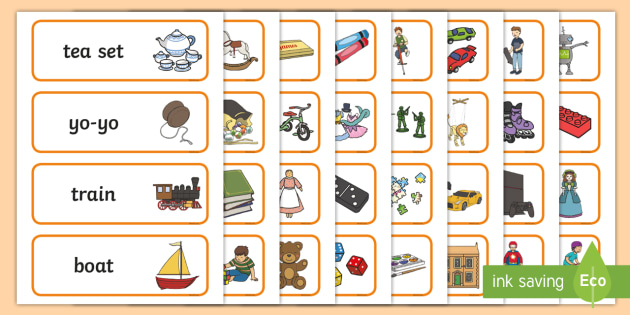Toy Vocabulary Game : Toy shop word cards role play