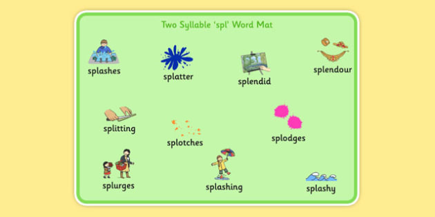 Two Syllable SPL Word Mat - speech sounds, phonology, articulation, speech therapy, cluster reduction, complex clusters, three element clusters