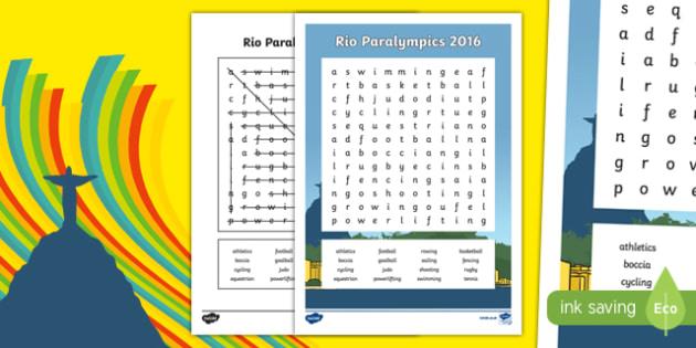 Australia Rio Paralympics 2016 Sports Word Search