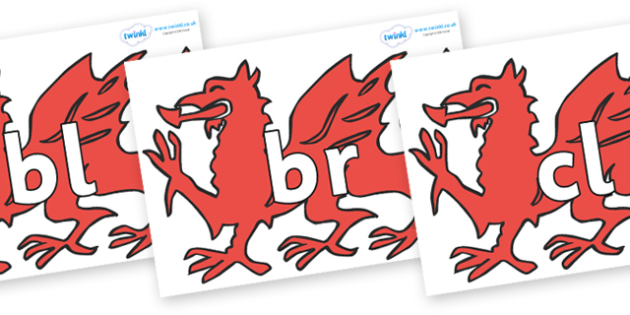Initial Letter Blends on Welsh Dragons - Initial Letters, initial letter, letter blend, letter blends, consonant, consonants, digraph, trigraph, literacy, alphabet, letters, foundation stage literacy