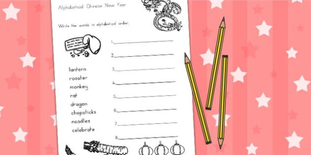 Chinese New Year Alphabet Ordering Worksheet - australia, order