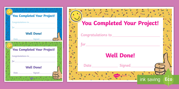 congratulations on completing your project award certificate