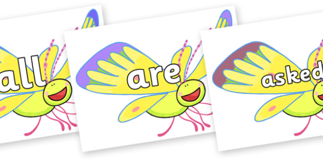 Tricky Words on Yellow Butterfly to Support Teaching on The Crunching Munching Caterpillar - Tricky words, DfES Letters and Sounds, Letters and sounds, display, words