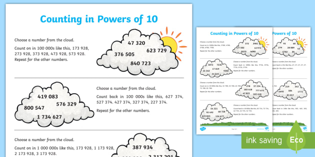 Counting Forwards and Backwards in Powers of 10 Worksheet /
