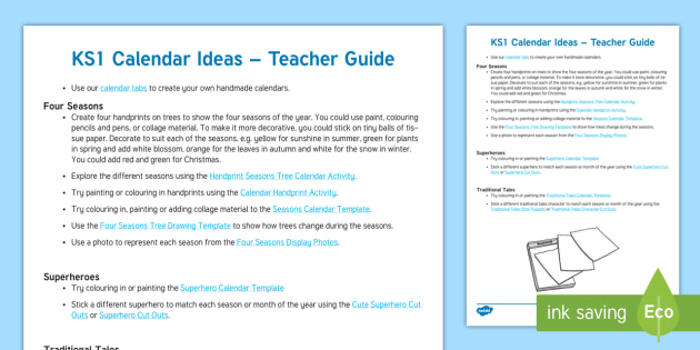 Calendar Ideas Ks : New ks calendar ideas teacher guide suggestions