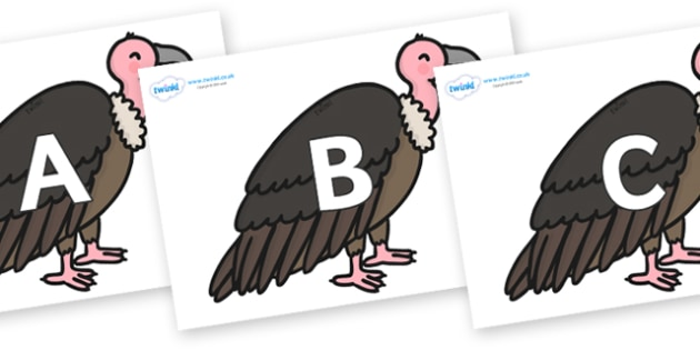 A-Z Alphabet on Vultures - A-Z, A4, display, Alphabet frieze, Display letters, Letter posters, A-Z letters, Alphabet flashcards