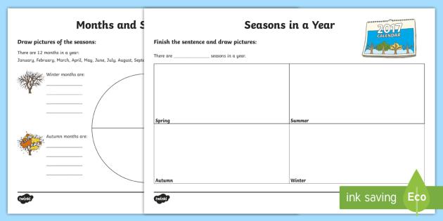 seasons and months worksheet activity sheets ni ks1. Black Bedroom Furniture Sets. Home Design Ideas