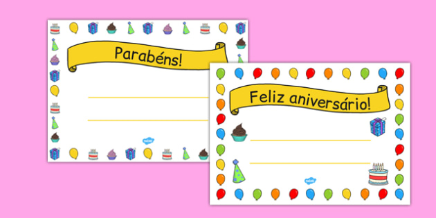 General Happy Birthday Certificates Portuguese - portuguese, general, happy birthday, certificates