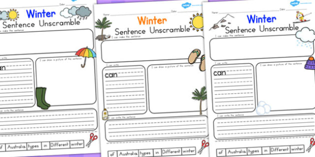 Winter Sentence Unscramble Temperate - seasons, literacy, winter