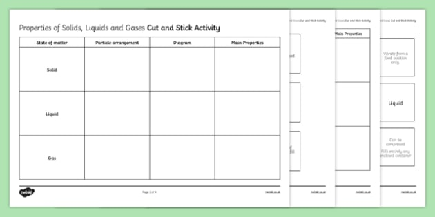 Properties of Solids, Liquids and Gases Cut and Stick Worksheet / Activity Sheet, worksheet, plenary activity