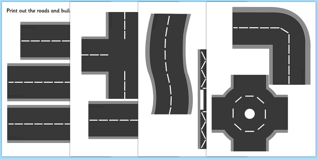 Printable Roads - road, transport, classroom display, role