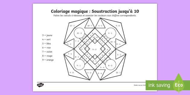 Coloriage Magique Jusqua 10.Coloriage Magique Rangoli De Soustraction Jusqu A 10
