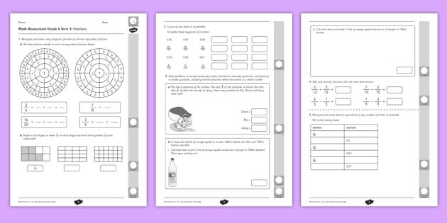 Grade 4 Fractions Term 3 Test - Math, Grade 4, Junior, Number Sense and