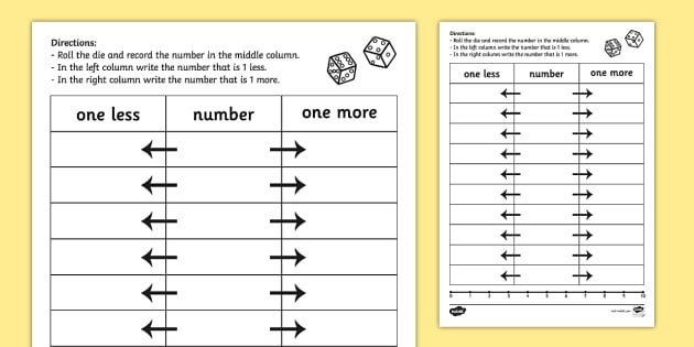One More One Less Dice Worksheet / Activity Sheet - dice games