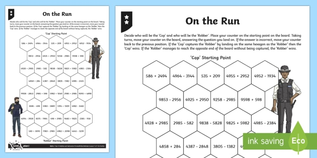 On the Run Addition and Subtraction Differentiated Game - Number - Addition and Subtraction, Add and subtract numbers with up to 4 digits using the formal wri